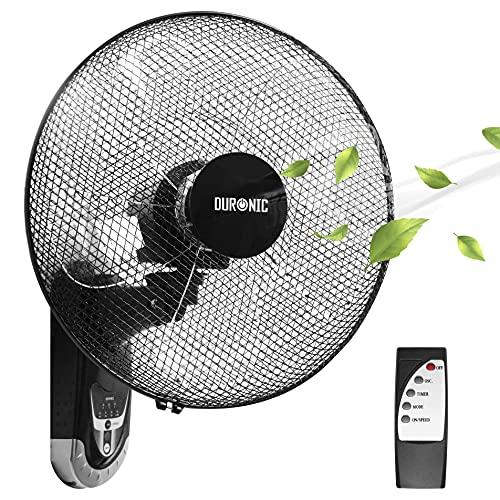 Duronic FN55 Ventilador de Pared 5 Aspas - Hélice de 40 cm - 60W de Potencia - Oscilante - 3 Velocidades - Mando a Distancia – Temporizador