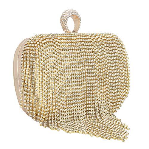 Frauen Elegante Handtasche Clutch Geldbörse - Quaste Strass Fingerring Hochzeit Prom Abendtaschen mit Kettenriemen Gold