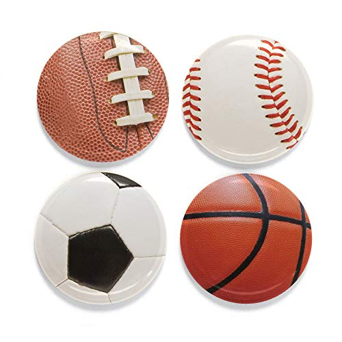 Buttonsmith Sports Balls Magnet Set - Set of 4 1.25