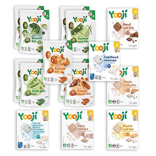 Yooji - Panier Légumes Viandes et Poissons Bio pour le Repas de Bébé de 6 à 8 Mois - Alimentation Saine et Équilibrée - Saveur Viandes Poissons Légumes pour 60 Repas