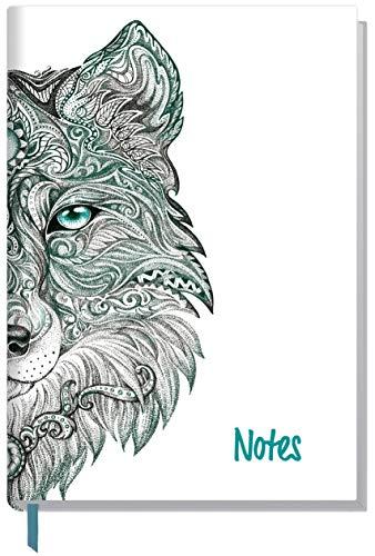 Notizbuch A5 liniert [Wolf] von Trendstuff by Häfft | als Tagebuch, Bullet Journal, Ideenbuch, Schreibheft| stylish, robust, biegsam, abwischbares Cover