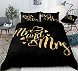 French Bedding Black Gold Duvet Cover Sets Gold Mr and Mrs Letter Printed Couple Romantic Bedding Sets Queen 1 Duvet Cover 2 Pillowcases (Queen, Black Gold)