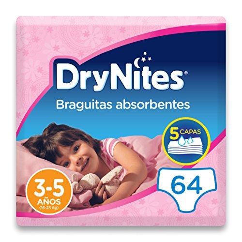 DryNites - Braguitas absorbentes para niña - 3 - 5 años (16-23 kg), 4 paquetes x 16 uds (64 unidades)
