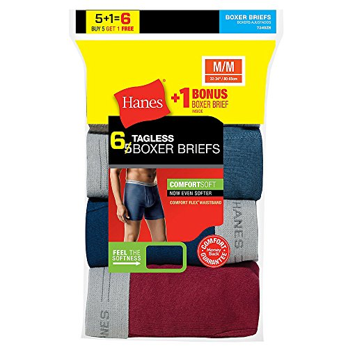 Hanes Men`s TAGLESS Boxer Briefs with Comfort Flex Waistband, 7349Z6, M, 6-Pack