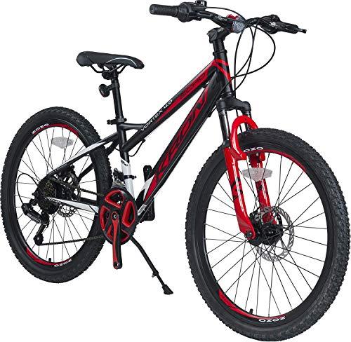 KRON Vortex 4.0 Mountainbike 26 Zoll | 21 Gang Shimano Schaltung mit Scheibenbremse | 16 Zoll Rahmen MTB Erwachsenen Jugend Fahrrad | Schwarz Rot