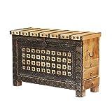 Casa Moro Schöne orientalische Truhe Hessa 120x40x77 (BxTxH) mit 3 Schubladen aus massiv Mangoholz mit Metallapplikationen verziert | Orient Holztruhe im Kolonialstil | CAC3602190