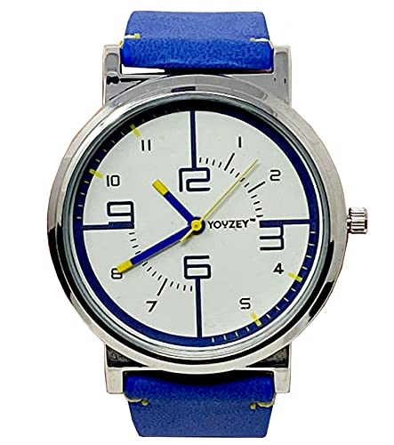Youzey Round Watch with White Face, Blue Yellow Trim, Blue Vegan Leather Strap