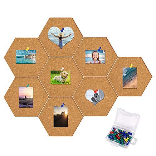 Pinnwand Kork Selbstklebende Sechseckige Korkplatte DIY Wanddeko-Mit 40 Bunt Pin für Foto Hängen Büroansage 8 Stück