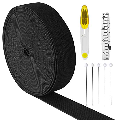 Mukum 11 Yard 1 Inch Elastic Band for Wigs Band Black Knit Elastic Spool for Sewing with Soft Tape Measure Scissors Pin