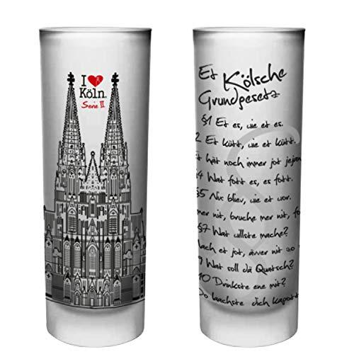 Köln Schnapsgläser | 6er Set | Gläser mit Gravur vom Kölschen Grundgesetz | Pinnchen bzw. Shotgläser für z.B Obstler, Tequila und Wodka. | Glas 6,5cl | Spülmaschinenfest | MADE IN GERMANY