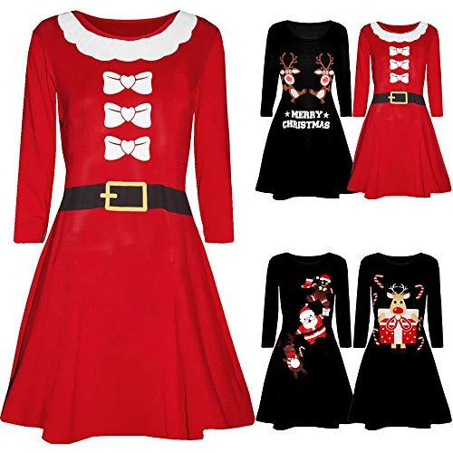 Weihnachtskleid // Printed Weihnachtsmann Kleid Party Club Festival - 5