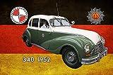 NWFS Polizei Auto DDR Eisenacher 340 1952 Volkspolizei Blechschild Metallschild Schild Metal Tin Sign gewölbt lackiert 20 x 30 cm