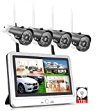XVIM 12' Monitor Wireless Signal Security Camera System with 1TB Hard Drive, 4pcs 2.0MP Outdoor Waterproof IP Cameras, 4 Channel HD 1080P WiFi Video Surveillance Cameras DVR Kits,Easy Remote View