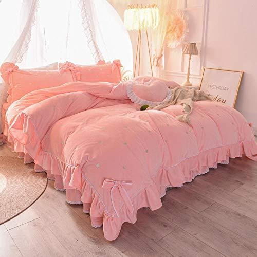 juegos de sábanas 150-Invierno de doble cara de terciopelo de cristal grueso calidez sábana de encaje extra grande funda nórdica funda de almohada ropa de cama regalo-GRAMO_Cama de 1,5 m (4 piezas)