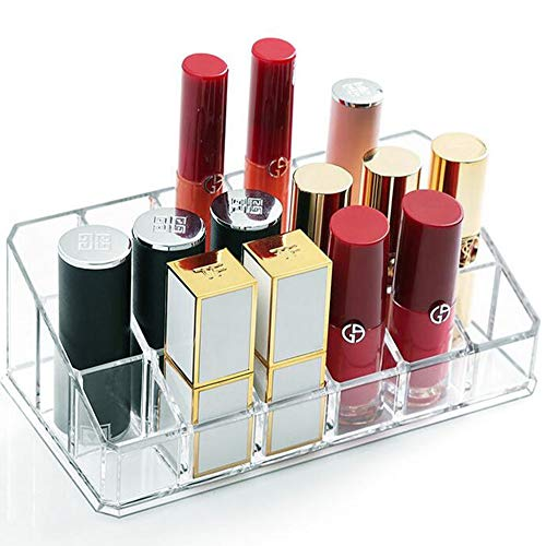 Tasybox Lipstick Holder Organizer Acrylic, Lipgloss Storage Box, Clear Makeup Display Case Cosmetic Beauty Container (18 Spaces)