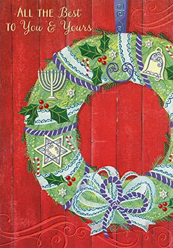 Designer Greetings Green Wreath with Hanukkah and Christmas Images Interfaith Holiday Card