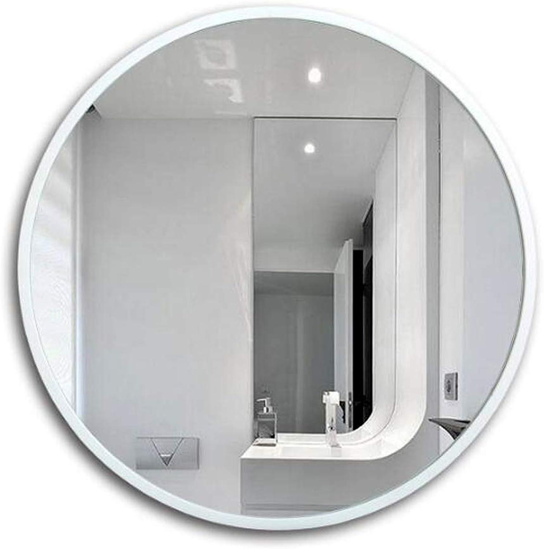 Wall Mirror Wall-Mounted Bathroom Mirror Bathroom Vanity Mirror Living Room Bedroom Vanity Mirror Frameless Round Bathroom Wall Mirror (color   White, Size   50x50cm)