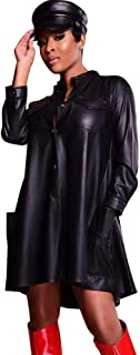Faux Leather Long Sleeve Button Down Shirt for Women Party Clubwear