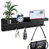 Key Holder Mail for Wall Decorative Wall Mount with 6 Key Hooks, Hook Rack with Hanger Mail Letter Sorter Organizer, Simplify Beauty Wall Decor for Entryroom, Storage, Hallway, Kitchen (Black)