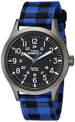 Timex Men's TW4B021009J Expedition Scout Blue Buffalo Check Nylon Strap Watch
