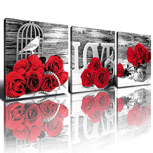 Red Rose Couples Bedroom Decor Wall Art Ruby Floral Canvas Prints for Bathroom Home Decoration Black and White Love Flower Modern Framed Pictures 12x12 Inch Set of 3 Pcs for Living Room Kitchen Office