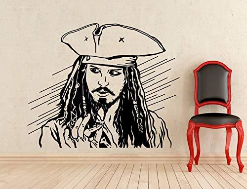 Capitán Jack Sparrow Película de aventuras Piratas del Caribe Vinilo Etiqueta de la pared Calcomanía para coche Ventiladores para niños Dormitorio Sala de estar Oficina Estudio Decoración para el