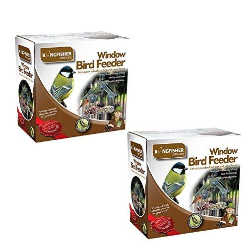 Kingfisher Lot de 2 mangeoires à oiseaux spécial fenêtre Lot de 2 mangeoires à oiseaux pour fenêtre en plexiglas transparent