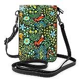 Crossbody - Bolso para teléfono celular, diseño de animales del bosque, color verde, con correa ajustable