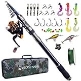 AGOOL Telescopic Fishing Rod and Reel Combo, Carbon Fiber Telescopic Spinning Portable Fishing Pole...