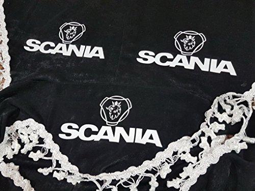 3-teilig Set Schwarz Gardinen mit Weiß Bommeln UNIVERSAL GRÖSSE für SCANIA Alle Modelle LKW Zubehör Dekoration Innenraum Vorhänge Plüsch Stoff