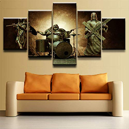 ZHFFYY Canvas Painting 5 Piece Canvas Print 5 Piece Religious Jesus and Buddha Poster Wall Art Home Decor for Living Room Pictures Canvas Artwork Wall Decor