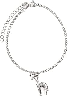 """It's All About...You! 7.5"""" - 9.5"""" Stainless Steel Ankle Bracelet with Alloy Giraffe 52T"""