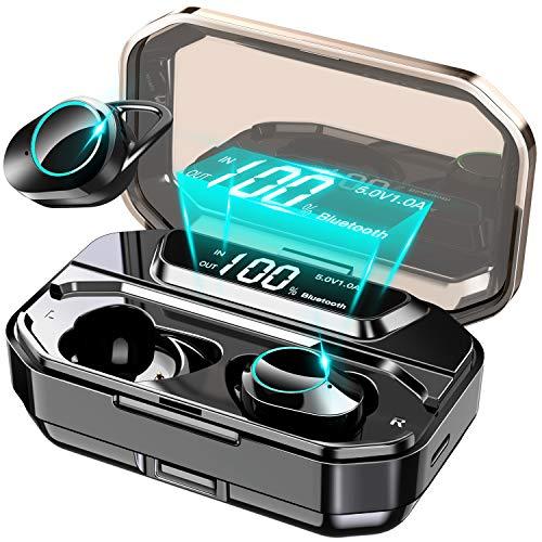 【進化版Bluetooth5.0 150時間連続駆動 5000mAh超大容量】 イヤホン Bluetooth ワイヤレスイヤホン 電池残量 インジケーター付き 完全ワイヤレス イヤホン Hi-Fi 高音質 AAC対応 ステレオサウンド 自動ペアリング CVC8.0ノイズキャンセリング タッチ式 ブルートゥース イヤホン IPX7防水 Siri対応 落下防止 マイク内蔵 技適認証済 iPhone/iPad/Android適用