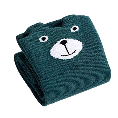Sukisuki Chaussettes Hautes antidérapantes pour bébé Motif Renard et Ours, Dark Green Bear*