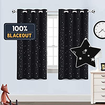 PrinceDeco Blackout Kids Curtains for Bedroom Thermal Insulated Silver Twinkle Star Curtains for Boys Girls Antique Grommet Top Window Treatment 2 Panels Drapes for Nursery, Soft Thick