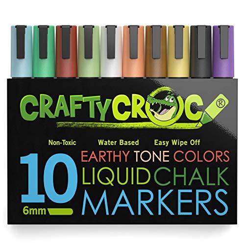 Crafty Croc Liquid Chalk Markers, 10 Pack Earth Colors, Chalk Ink Pens, Medium Tip 6mm
