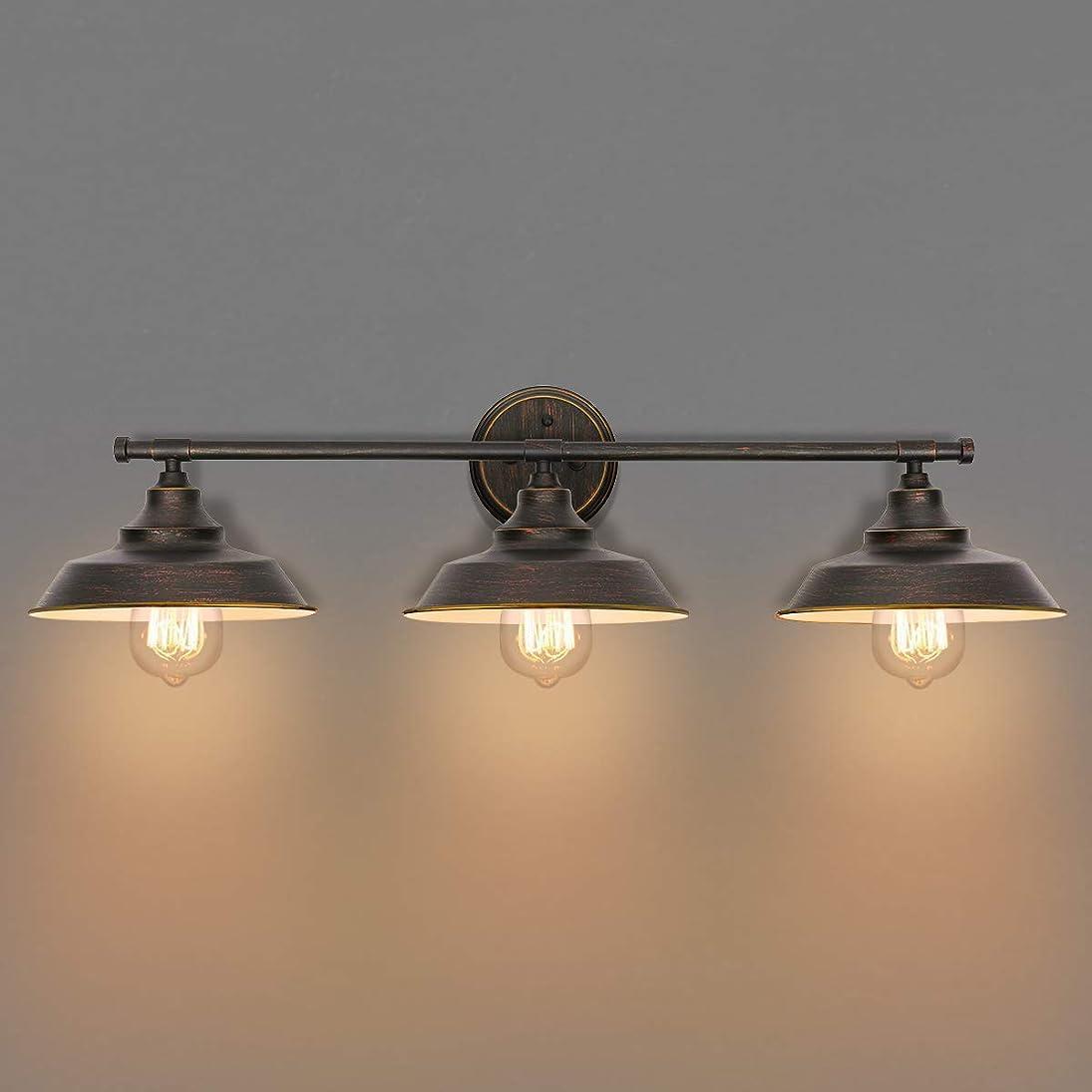 学ぶハッチソートKingSo バスルーム 化粧台ライト 3ライト 壁取り付け用燭台 インダストリアル 屋内 壁取り付け ランプ シェード バスルーム キッチン リビングルーム ワークショップ カフェ