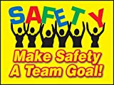 Accuform PST108 Safety Awareness Poster,'Make Safety A Team Goal!', 18' Length x 24' Width, Laminated Flexible Plastic