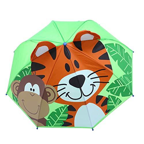 FeiliandaJJ Kinder Regenschirm Junge Mädchen Stockschirm Cartoon 3D Tier Anti UV Windsicher Sturmfest Automatik Kinderregenschirm,Länge 60cm (Tiger(G))
