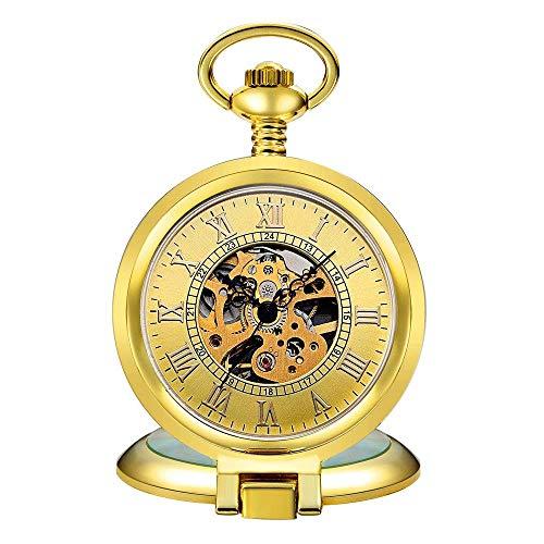 QZH Reloj de Bolsillo Grabado, Reloj mecánico clásico Hueco Tallado Romano Reloj de Bolsillo mecánico Plateado Grande de Concha Reloj de Bolsillo mecánico para Hombre (Dorado)