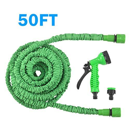 Huatuqi Stretch Gartenschlauch, optionale Länge, erweiterbarer Wunderschlauch, mit 7 Pistolen Funktion für Gartenbewässerung/Autowäsche 15 m