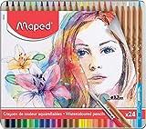 Maped 832424- Caja metálica de 24 lápices de colores artísticos acuarelables con pincel