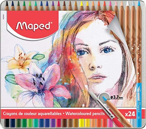 Maped - 24x Aquarell-Buntstifte für Künstler ARTIST in hochwertiger Metallbox