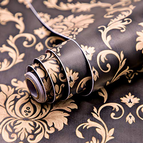 Wolpin Wall Stickers DIY Wallpaper (45 x 500 cm) Black Damask Luxury Self Adhesive Decals Living...