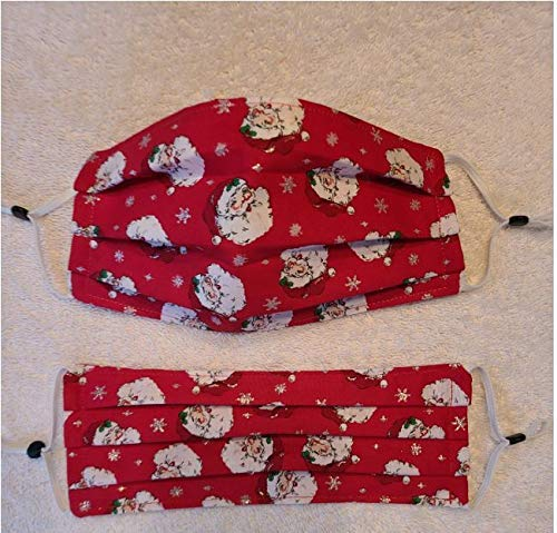 TWO Handmade Washable Reusable Christmas Santa Cotton Fabric Designer Face Mask FREE First Class delivery! Made in the USA