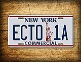 Fhdang Decor Ghostbusters 2 Placa de Licencia de película ECTO 1A Comercial York Vintage Auto Tag réplica Prop Metal Sign