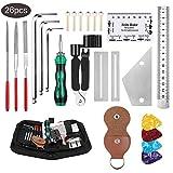 Anpro 26PCS Kit de Herramienta Guitarra,Accesorios Guitarra,Herramientas de Limpieza y Mantenimiento para Guitarra, Ukelele, Bajo, Mandolina, Banjo