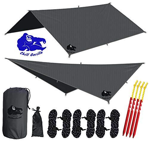 Chill Gorilla 10x10 Hammock Rain Fly Camping Tarp. Ripstop Nylon....