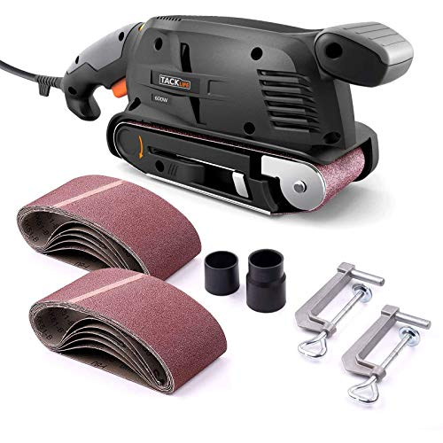 Product Image of the TACKLIFE Belt Sander 3×18-Inch with 13Pcs Sanding Belts, Bench Sander with Variable-speed Control, Fixed Screw Clamps, Dust Box, Vacuum Adapters, 10Feet (3 meters) Length Power Cord PSFS1A