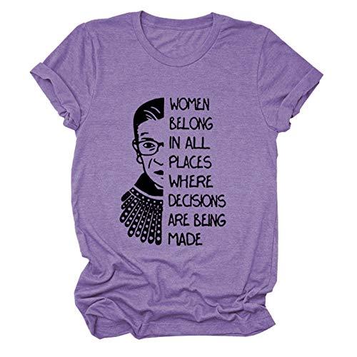 Frauen gehören an Allen Orten Frauen niedlichen Grafikdruck T-Shirt Bluse...
